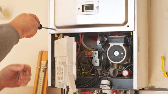 boiler repair being carried out